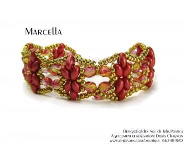 "Bracelet ""Marcella"" en rouge corail et or"