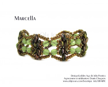 "Bracelet ""Marcella"" en vert et cuivre"