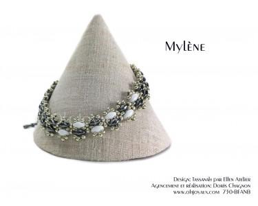 """Bracelet """"Mylène"""" en noir, blanc et argent"""