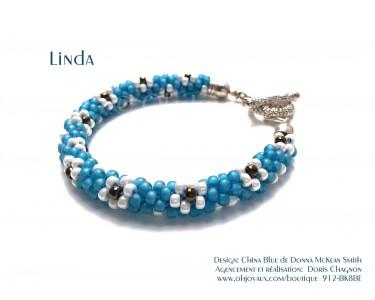 """Bracelet """"Linda"""" en bleu et blanc"""