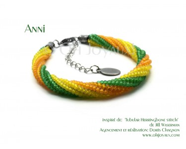 """Bracelet """"Anni"""" jaune, vert et orange"""