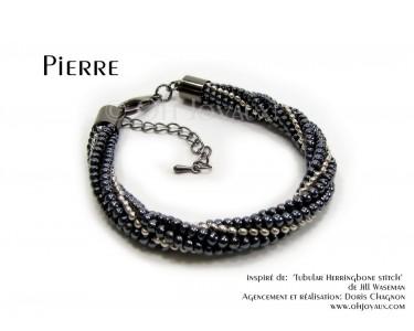 """Bracelet """"Pierre"""" noir et argent"""