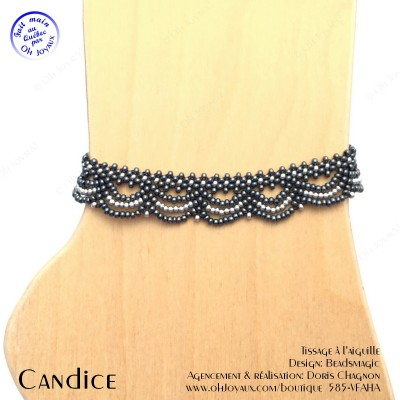 Bracelet de cheville Candice de couleur hématite et argenté
