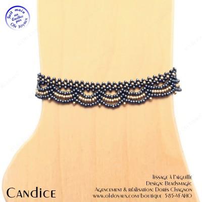 Bracelet de cheville Candice de couleur hématite et champagne