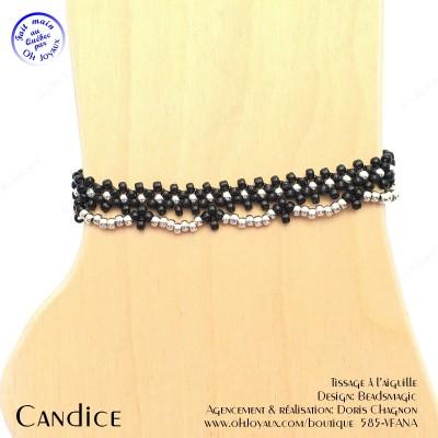 Bracelet de cheville Candice de couleur noir et argenté