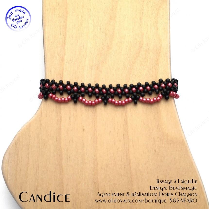 Bracelet de cheville Candice de couleur noire et rouge