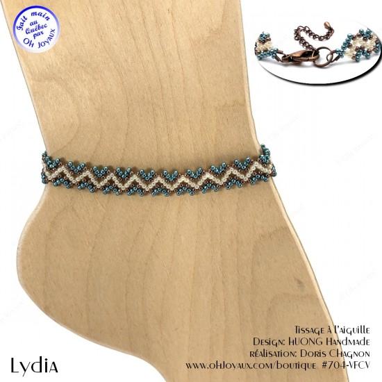 Bracelet de cheville Lydia de couleur écume de mer, crème et cuivrée