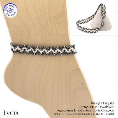 Bracelet de cheville Lydia de couleur hématite, blanche et champagne