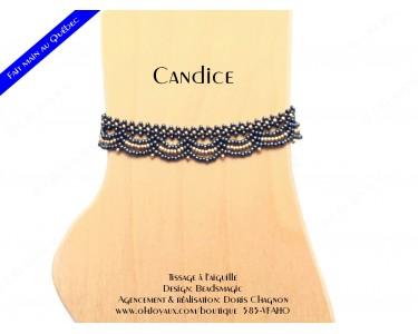 """Bracelet de cheville """"Candice"""" de couleur hématite et champagne"""