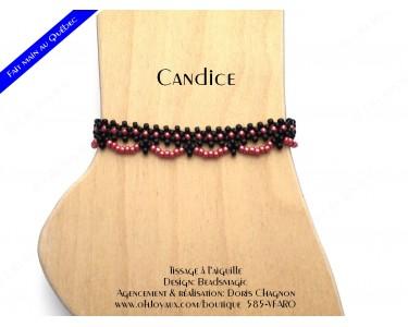 """Bracelet de cheville """"Candice"""" de couleur noire et rouge"""