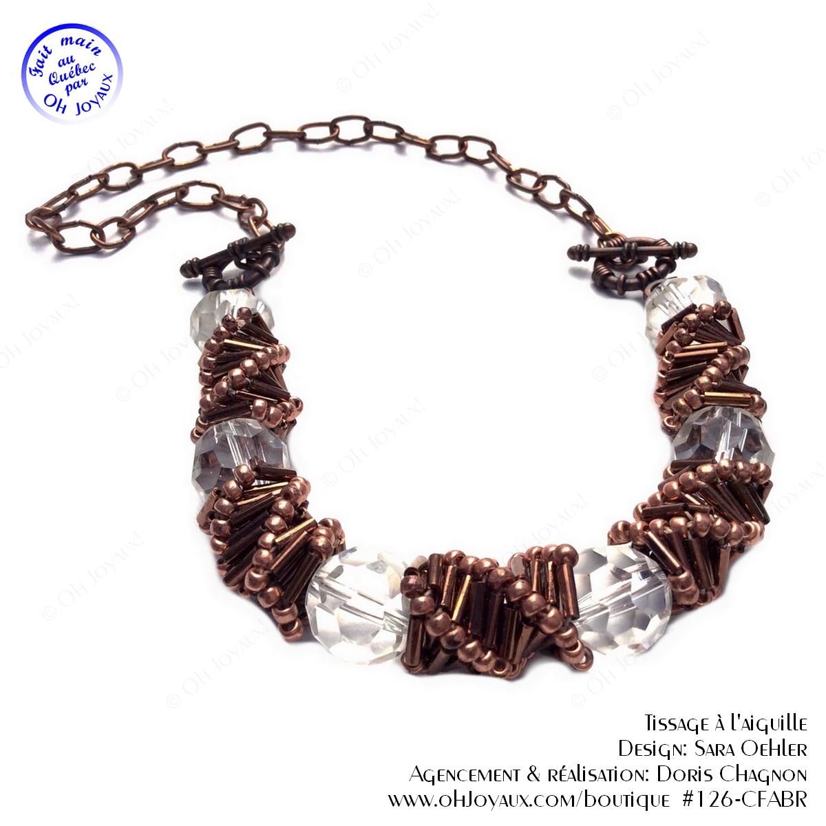 Collier de spirales russes et cristaux transparents