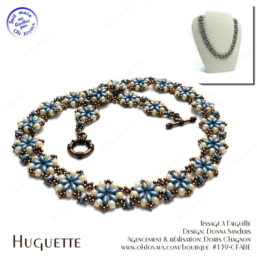 Collier Huguette en bleu-turquoise et crème