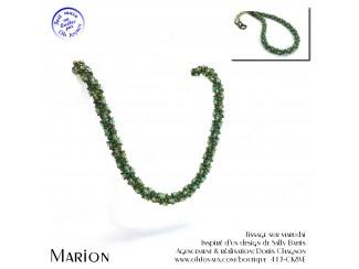 Collier Marion en vert et ambre
