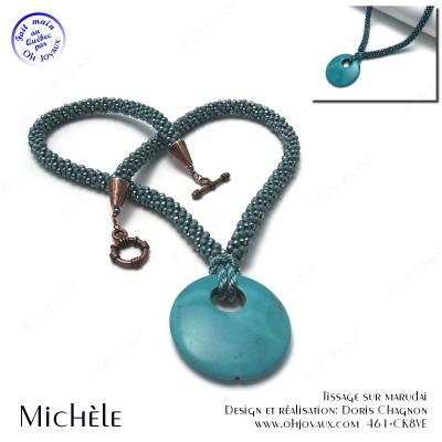 Collier-pendentif Michèle en turquoise