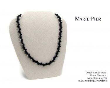 """Collier """"Marie-Pier"""" en noir et gris"""