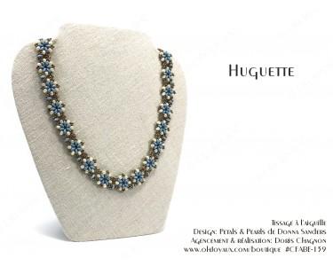 """Collier """"Huguette"""" en bleu-turquoise et crème"""