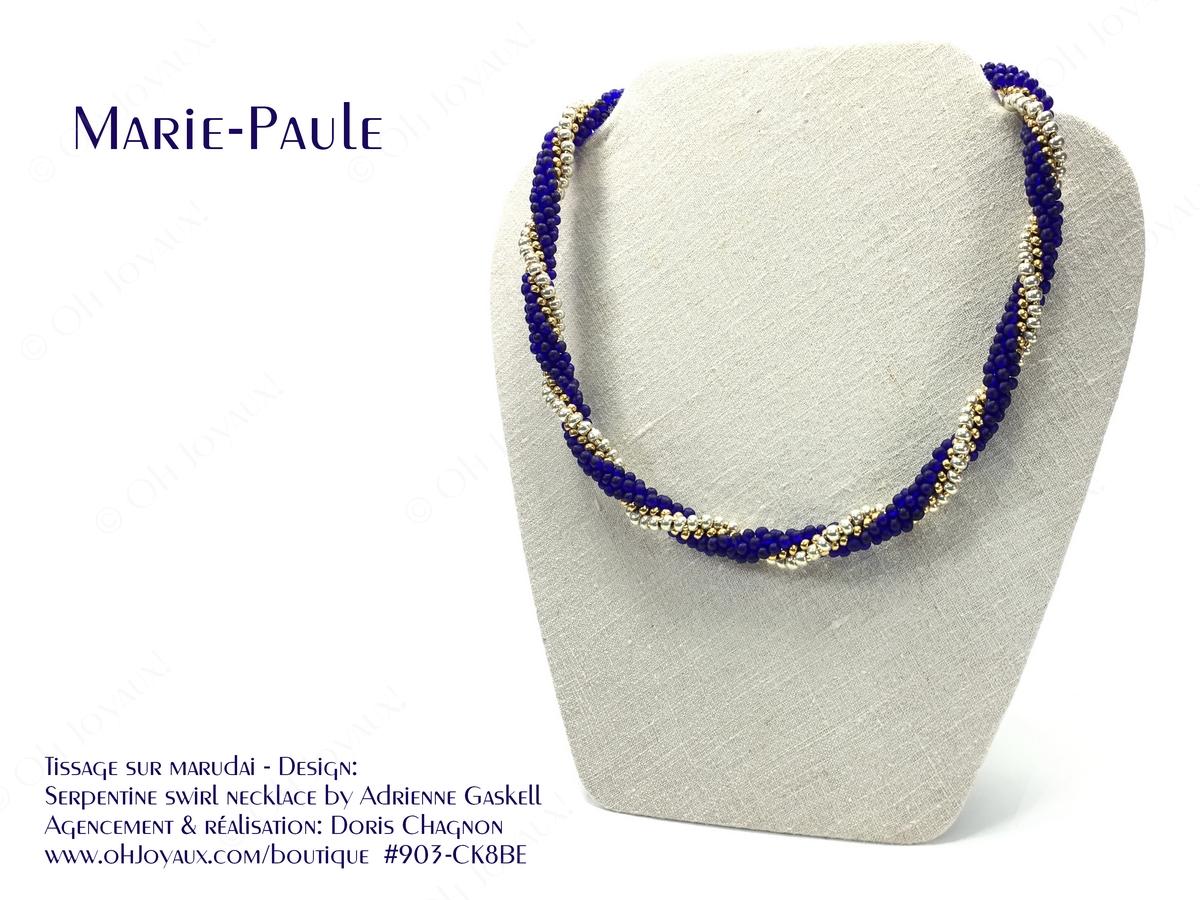 Marie-Paule en cobalt, argent et or
