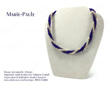 """Collier """"Marie-Paule"""" dans les couleurs de cobalt, argent et or"""