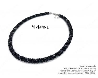 """Collier """"Vivianne"""" en noir et hématite"""