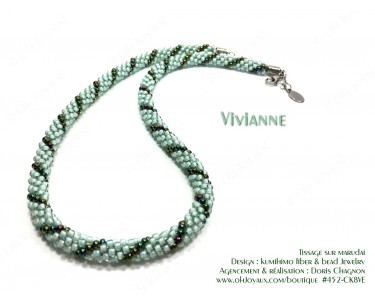 "Collier ""Vivianne"" en 2 tons de verts"