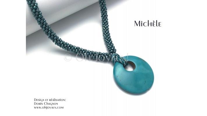 """Collier-pendentif """"Michèle"""" en turquoise"""