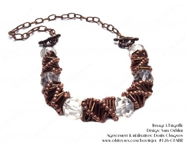 Collier de spirales russes et cristaux transparents