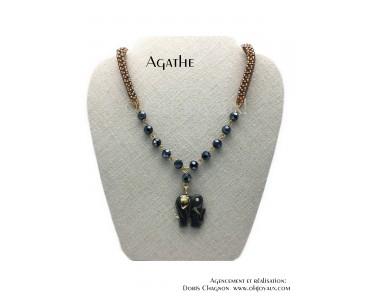 """Collier """"Agathe"""" en or et noir"""