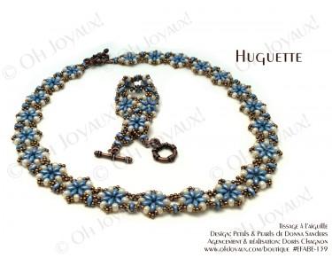 """Ensemble """"Huguette"""" collier et bracelet  en bleu turquoise et crème"""