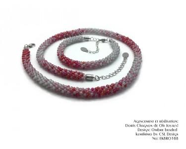 """Ensemble """"Du rouge à tes joues""""collier et bracelet"""