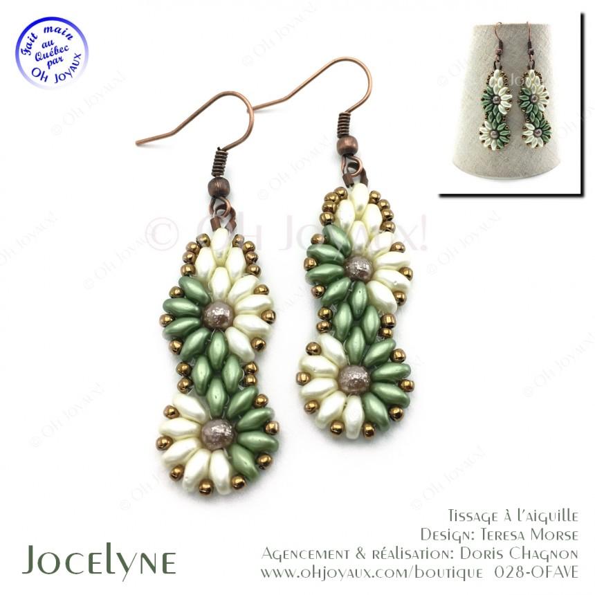 Boucles d'oreilles Jocelyne en olive et crème