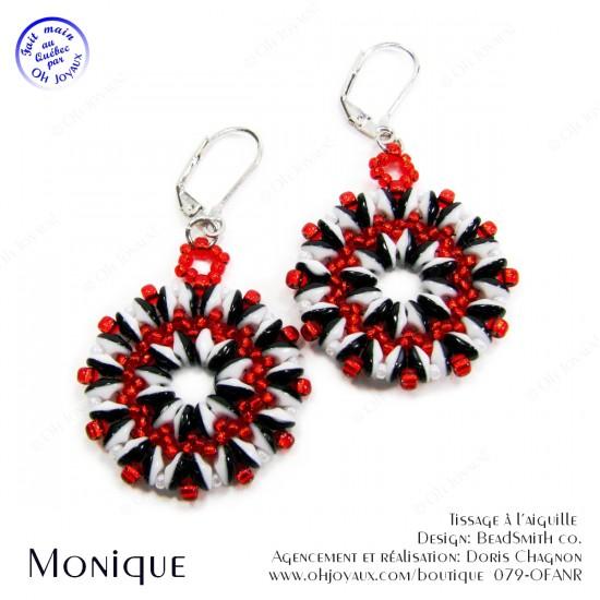Boucles d'oreilles Monique en noir/blanc/rouge