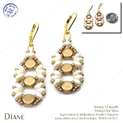 Boucles d'oreilles Diane en champagne et crème