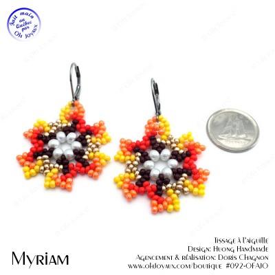 Boucles d'oreilles Myriam en teintes jaune et orangé