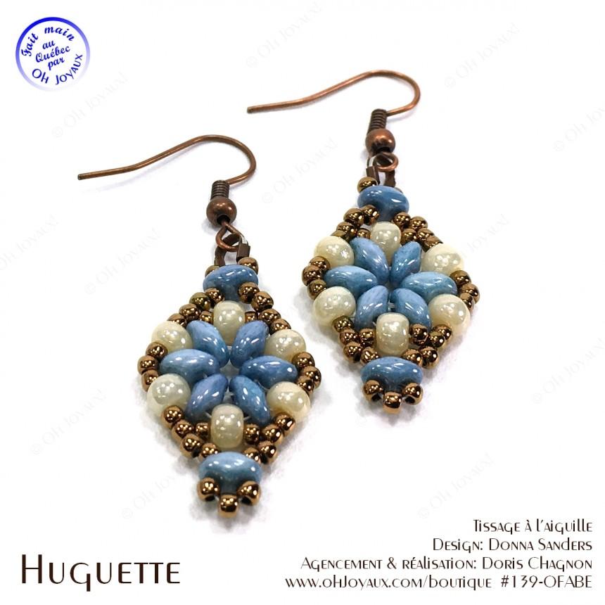 Boucles d'oreilles Huguette en bleu-turquoise et crème