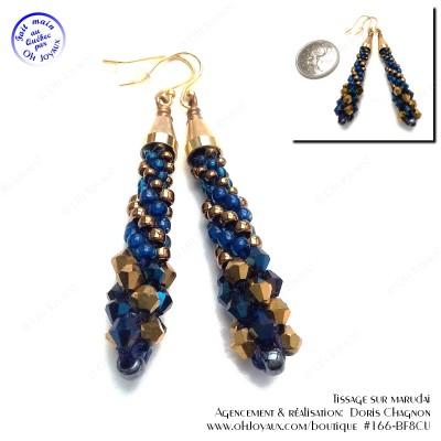 Boucles d'oreilles Spirales d'or cuivré et de bleu