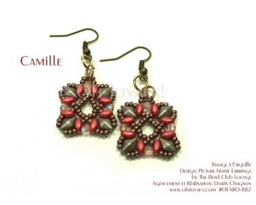 """Boucles d'oreilles """"Camille"""" en corail et taupe"""