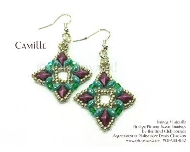 """Boucles d'oreilles """"Camille"""" en turquoise et magenta"""