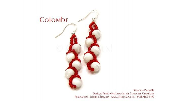 """Boucles d'oreilles """"Colombe"""" en blanc et rouge"""