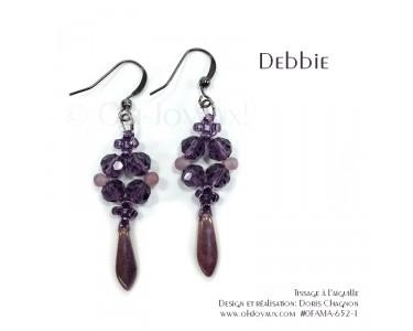 """Boucles d'oreilles """"Debbie"""" en magenta"""