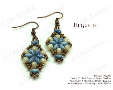 """Boucles d'oreilles """"Huguette""""  en bleu-turquoise et crème"""