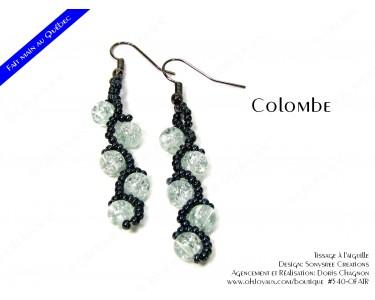 """Boucles d'oreilles """"Colombe"""" en transparent et noir"""