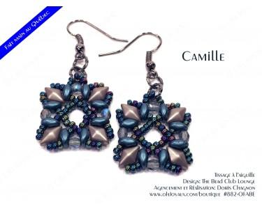 """Boucles d'oreilles """"Camille"""" en marine et taupe"""
