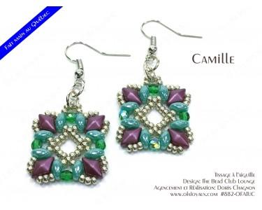 """Boucles d'oreilles """"Camille"""" en magenta et turquoise"""