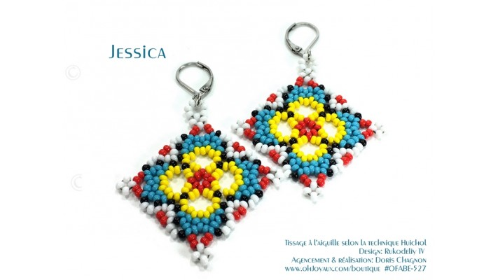"""Boucles d'oreilles """"Jessica"""" de couleur bleu / multicolore de style Huichol"""