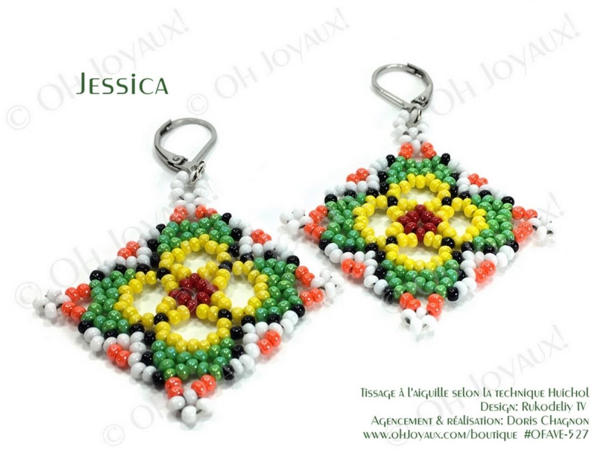 """Boucles d'oreilles """"Jessica"""" de couleur vert / multicolore de style Huichol"""