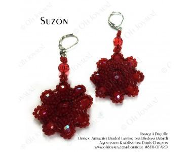 """Boucles d'oreilles """"Suzon"""" en rouge"""