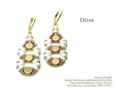 """Boucles d'oreilles """"Diane"""" en champagne et crème"""