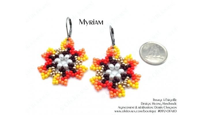 """Boucles d'oreilles """"Myriam"""" en teintes jaune et orangé"""