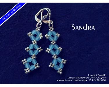 """Boucles d'oreilles """"Sandra"""" en aquamarine et argenté"""
