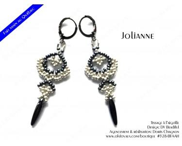 """Boucles d'oreilles """"Jolianne"""" de couleur argenté et hématite"""